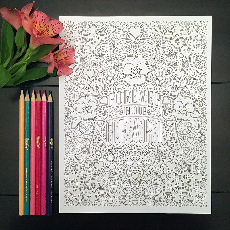 """Joy Comes in the Morning"" coloring book page design"