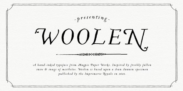 Woolen typeface by Jessica McCarty of Magpie Paper Works