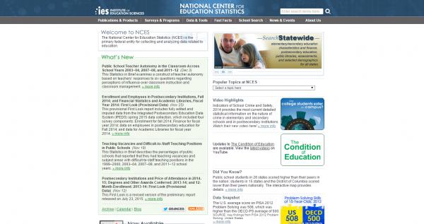 National Center for Education Statistics  NCES  Home Page  a part of the U.S. Department of Education