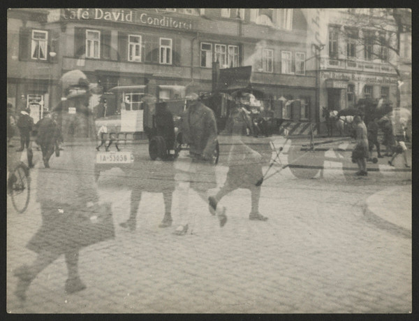 Untitled (Street Scene, Double Exposure, Halle), 1929 - 1930. Gelatin silver print, 15 1/8 x 19 1/8 x 7/8 in. Credit: gift of T. Lux Feininger, Houghton Library, Harvard University. © Artists Rights Society, New York / VG Bild-Kunst, Bonn.