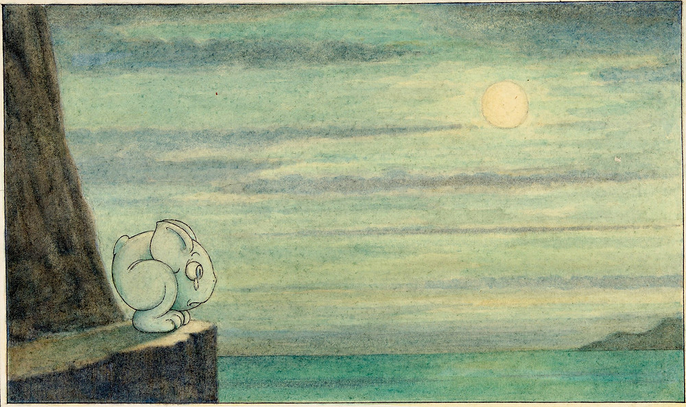 "Herbert E. Crowley (British, London 1873–1939 Zurich) C'est extraordinaire combien la lune ne fait de l'effet (The effect of the moon is extraordinary), ""Wiggle Much"" Design, ca. 1910 American, British, Watercolor and black ink; Sheet: 5 7/16 x 8 in. (13.8 x 20.3 cm) The Metropolitan Museum of Art, New York, Gift of Mrs. Alice Lewisohn Crowley, 1946 (46.128.233) http://www.metmuseum.org/Collections/search-the-collections/412002"