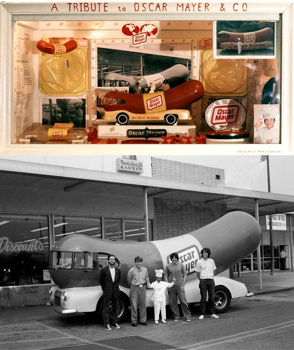 """Jeffrey Vallance, above: """"Oscar Mayer Wiener Mascot Meetings with Drawing,"""" mixed media assemblage, 1975. Jeffrey Vallance, below: """"Meeting with Little Oscar and His Giant Wienermobile,"""" Granada Hills, ca. 1973."""