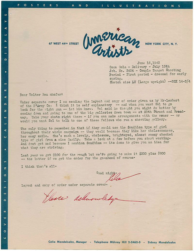 Letter from American Artists to Walter Baumhofer, June 16, 1943