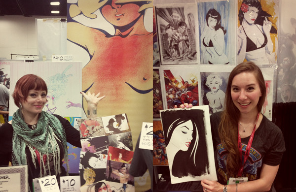 Artists' Alley isn't entirely monopolized by slick, standardized superhero illustrators; comics-maker Eliza Frye and pin-up painter Michelle Delecki are a couple of several that set their own agendas.