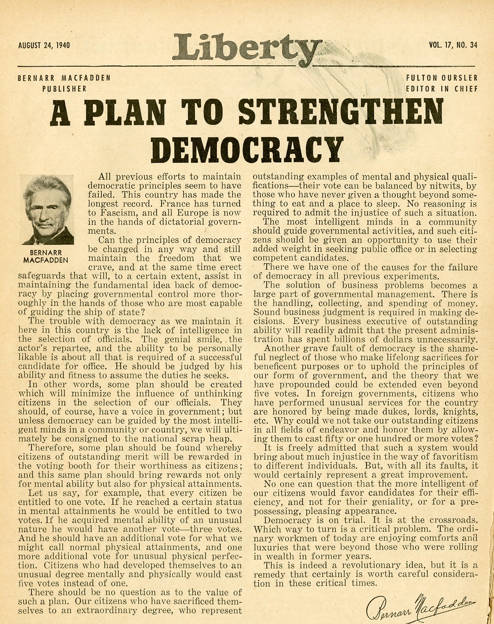 liberty- a plan to strengthen democracy