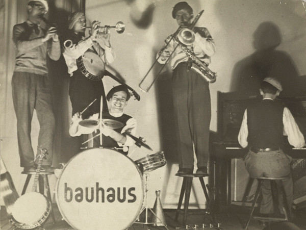 T. Lux Feininger: (Bauhaus Band performing), about 1928 - 1929. Gelatin silver print, 4 9/16 x 6 1/16 in. © estate of T. Lux Feininger. Credit: The J. Paul Getty Museum, Los Angeles.