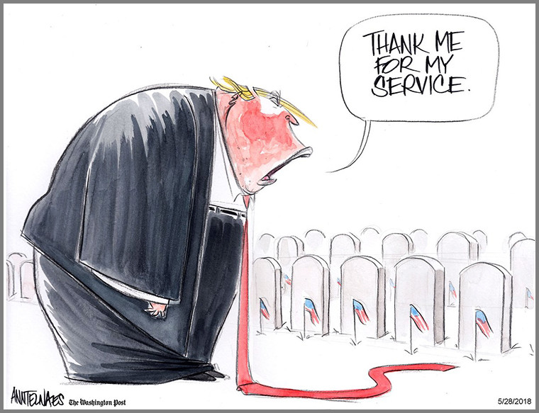 """thank me for my service"" trump illustration"