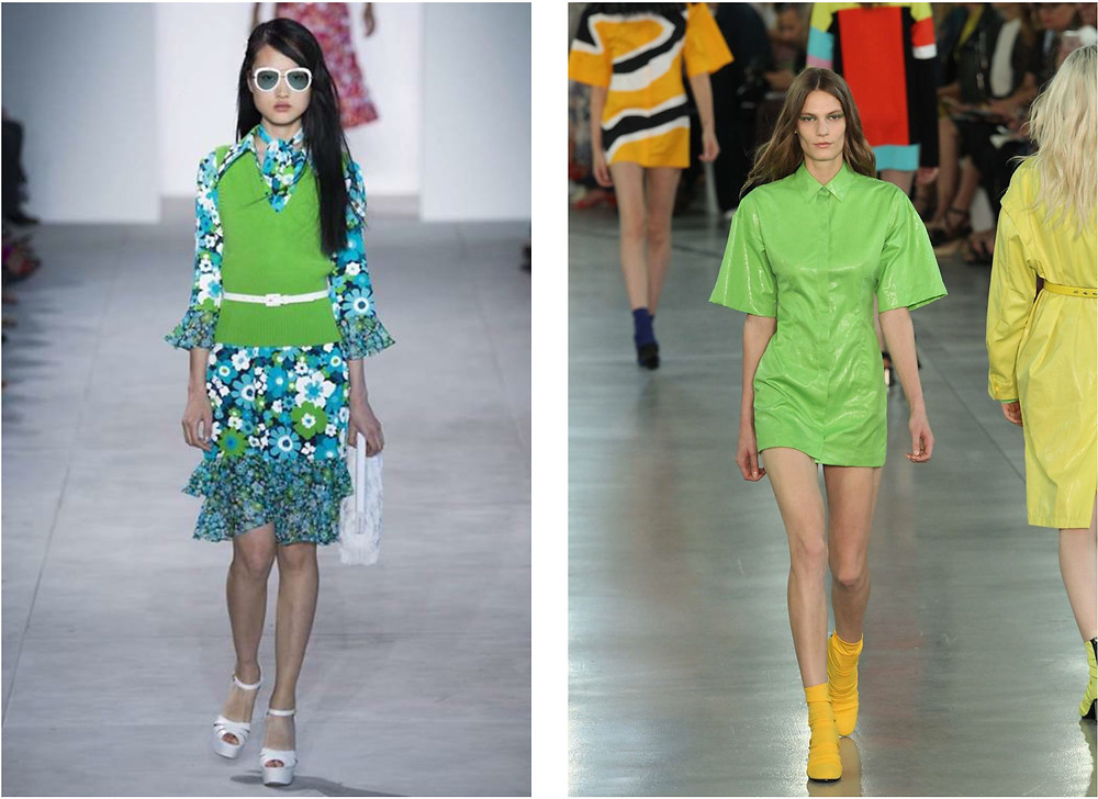 Greenery in women's fashion, spring 2017. Left: Michael Kors. Right: Emilio Pucci.