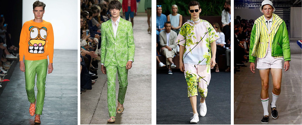 Greenery in men's fashion, spring 2016. From left to right, Jeremy Scott, Richard James, Issey Miyake, and Moncler.