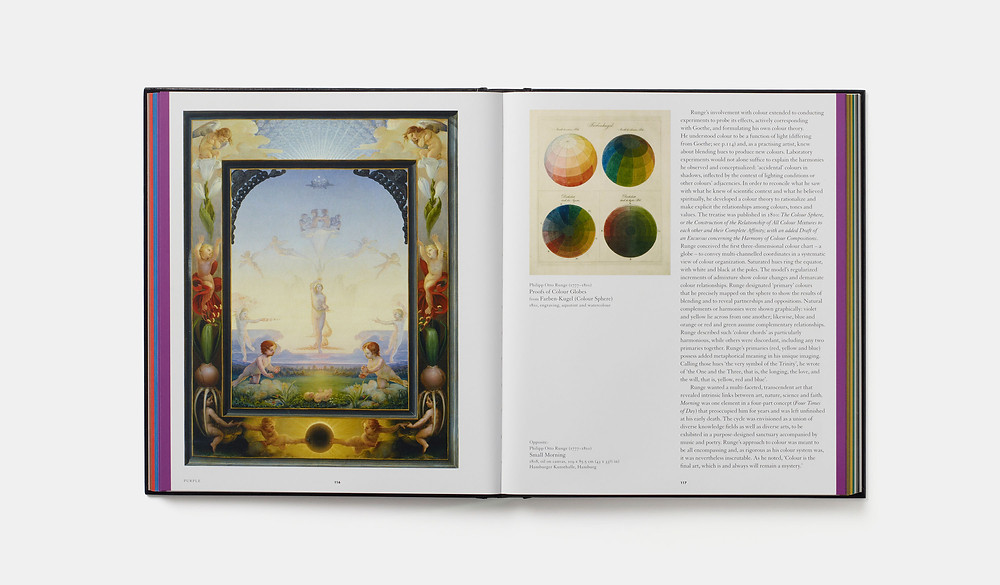Chromaphilia: The Story of Color in Art, Stella Paul, Phaidon Press. Open at pages 116-7, Purple, showing Small Morning, 1808 (left) and Proofs of Color Globes, 1810 (right), by Philip Otto Runge