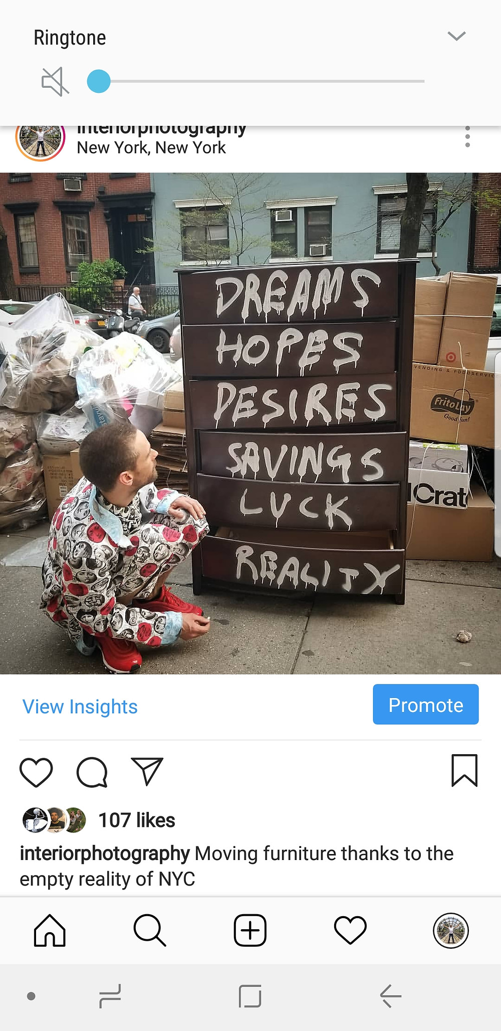Instagram post- interiorphotography: dreams hopes desires savings luck reality