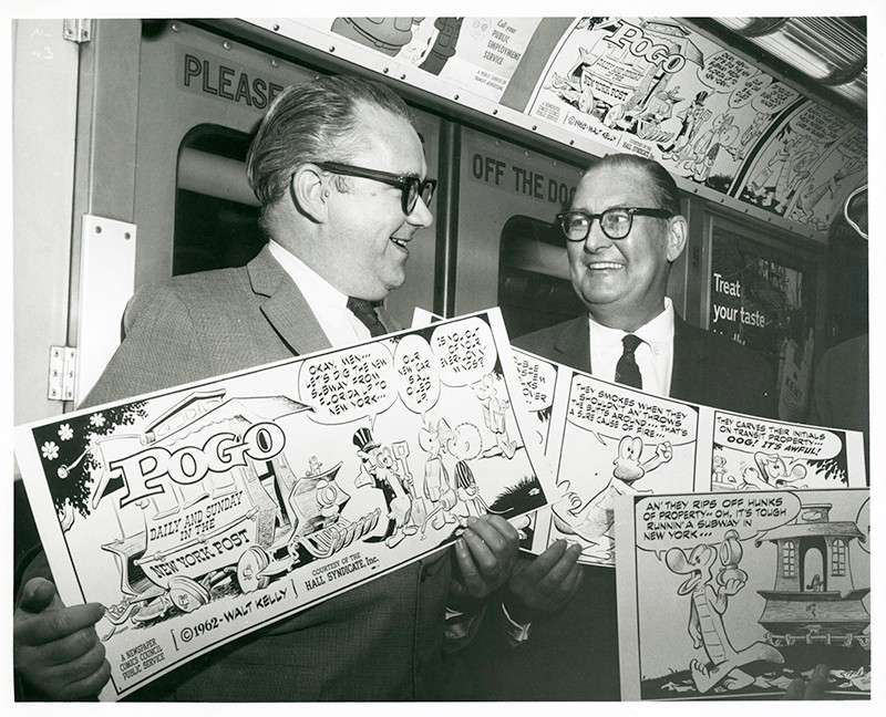 left: Walt Kelly. Newspaper Comics Council ad campaign, 1962. New York Transit Museum NYCTA Photo Unit Collection