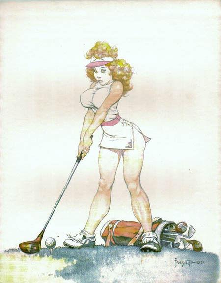 A different form of golf art by Frazetta.