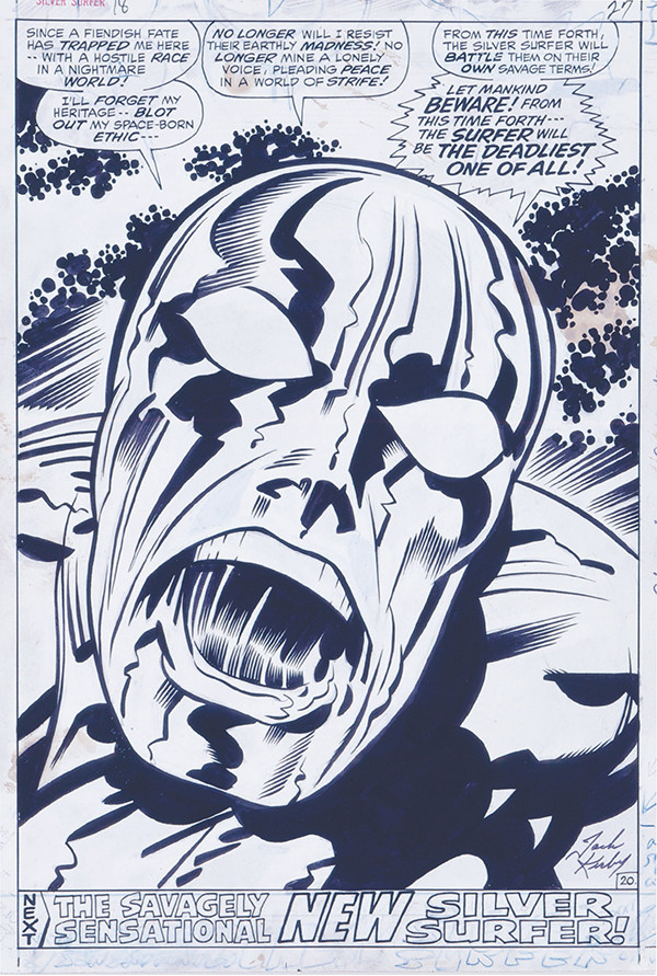 Silver Surfer #18, 1970. Jack Kirby: pencils, Herb Trimpe: inks, Sam Rosen: letters.