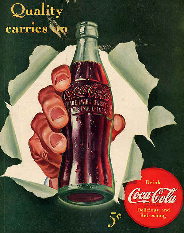 1942 Coke ad showing the D-105529 patent number on the bottle