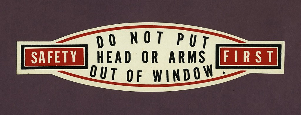 A stickers/labels (1950s) were affixed to the window sills on the rapid transit cars, trolley buses, and streetcars.