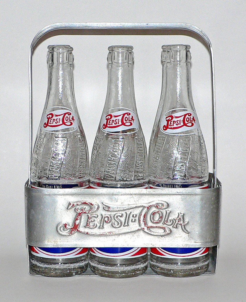 1930s aluminum carrier with 1940s pepsi bottles
