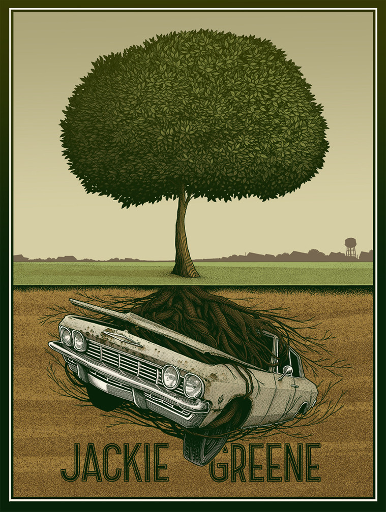 Jackie Greene gig poster by Justin Santora