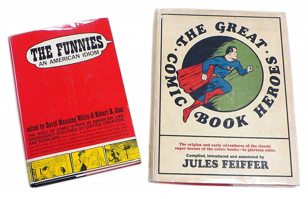 "Left: ""The Funnies-An American Idiom"" 1963  Right: ""The Great Comic Book Heroes"" 1965"