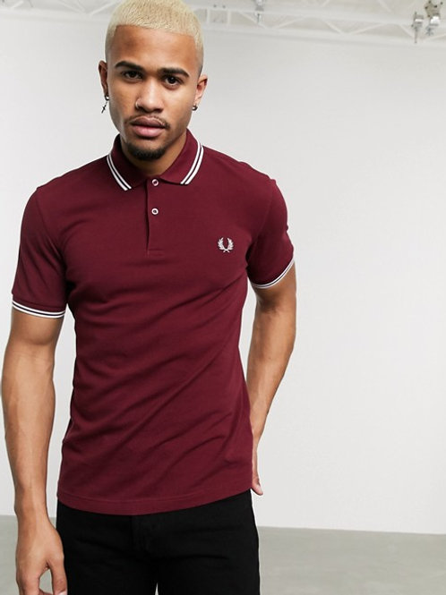 POLO FRED PERRY BURDEOS/BLANCO