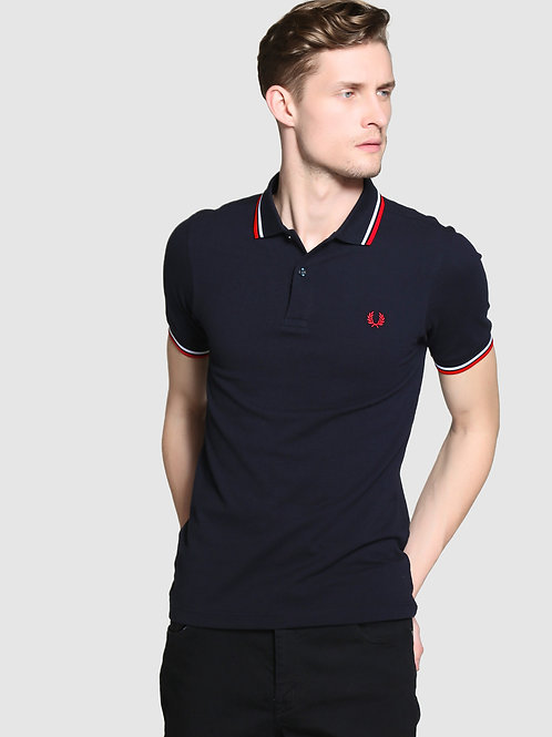POLO FRED PERRY NEGRO/ROJO/BLANCO
