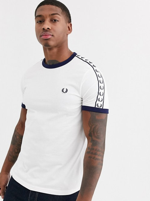 CAMISETA BLANCA RIBETES FRED PERRY