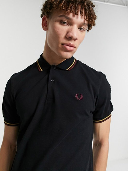 POLO NEGRO RIBETES FRED PERRY