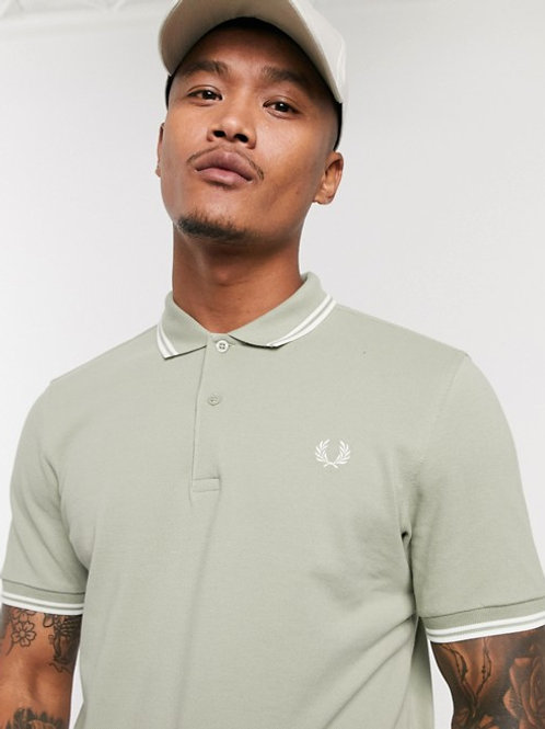 POLO FRED PERRY OLIVA/BLANCO