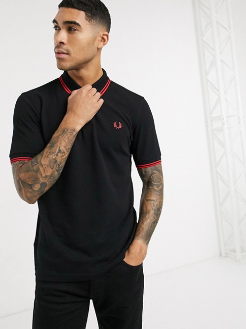 POLO FRED PERRY NEGRO/ROJO