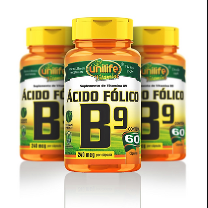 ÁCIDO FÓLICO B9 UNILIFE 60CAPS 500MG