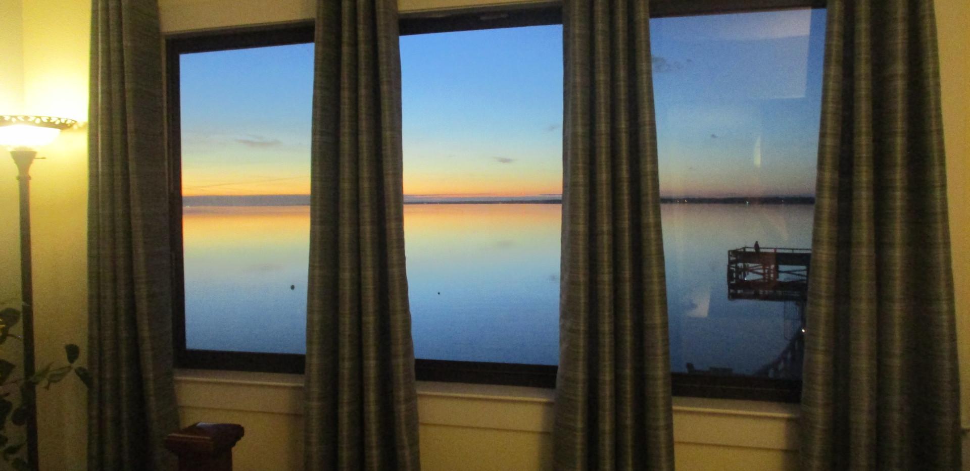 Beautiful sunset from window