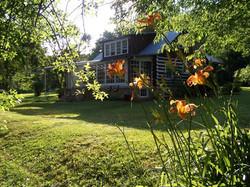Backyard of historic cabin retreat