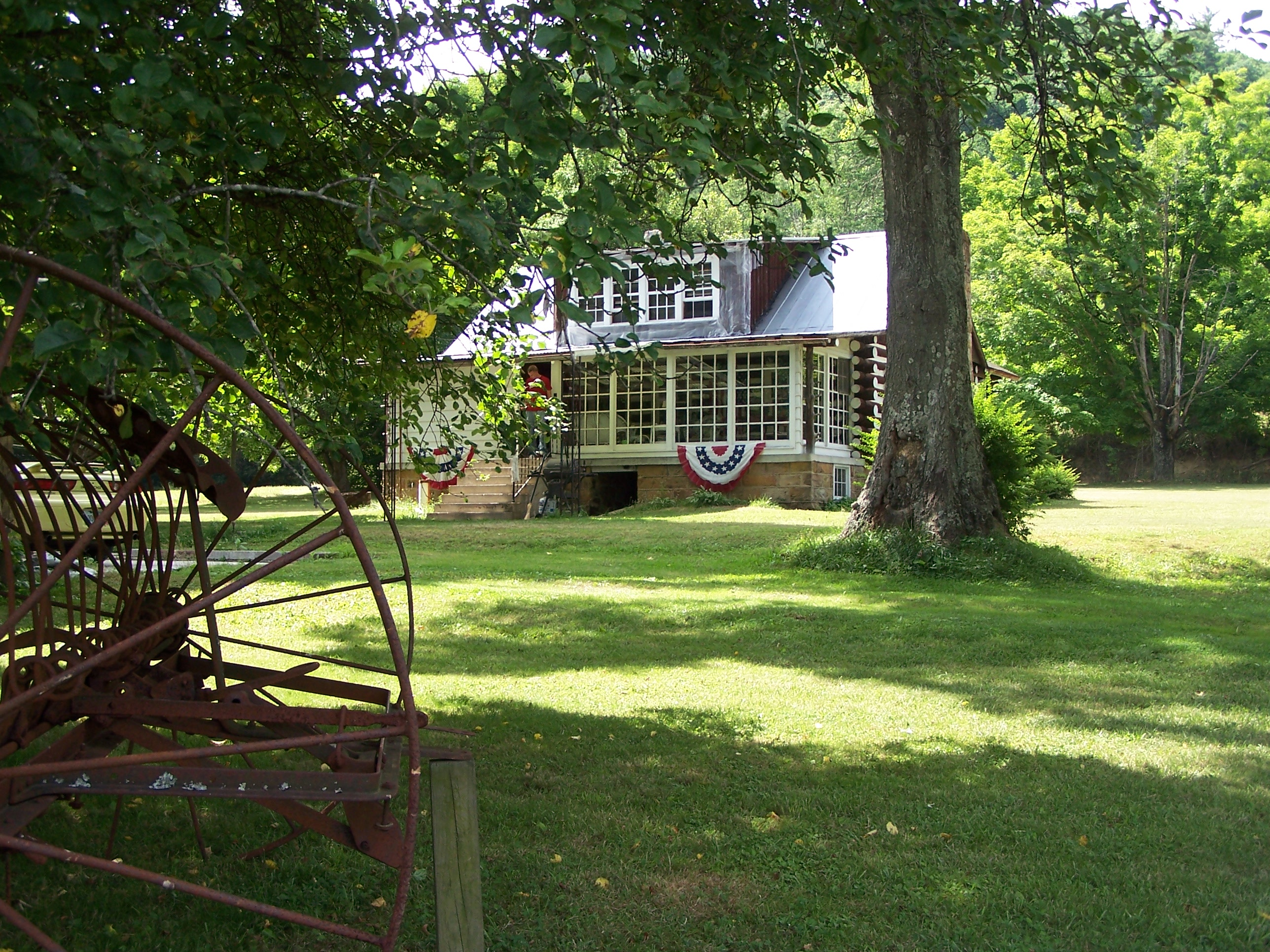 Sunporch view of the historic cabin