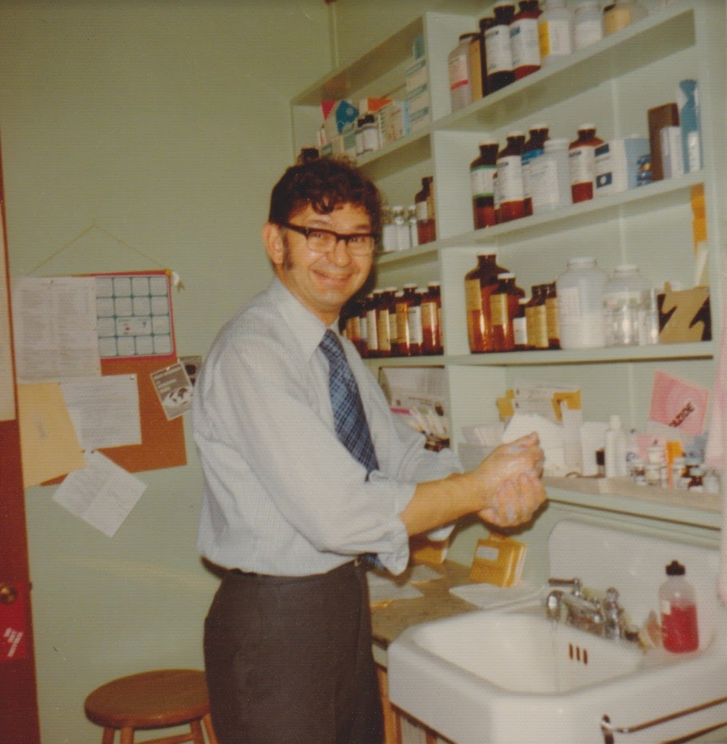 Dr. DeWitt Dabback, Dr. Kiefer's grandfather, in his office.