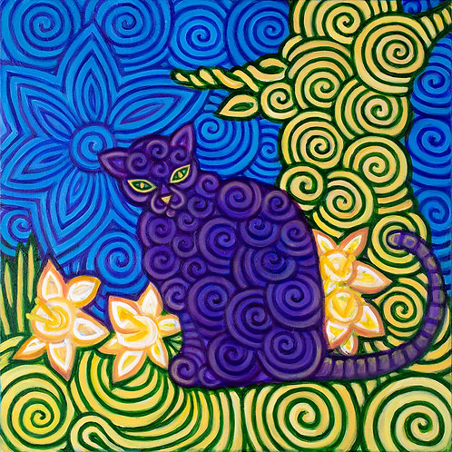 Daffodills And Cat on Canvas