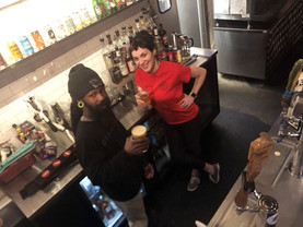 Goat and Rachael manning the Mojo bar.