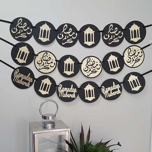 Ramadan Kareem English or Arabic Banner (Black/Gold)