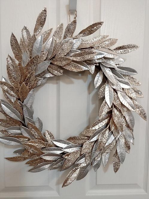 Silver/Champagne Gold Leaf Wreath