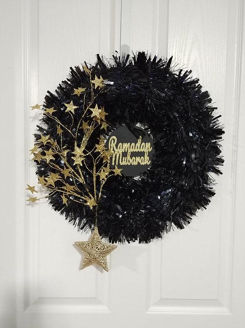 Black/Gold Reversible Star Wreath