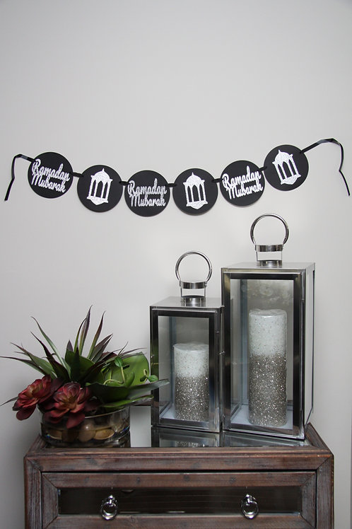 Black/Silver English Ramadan Kareem Banner