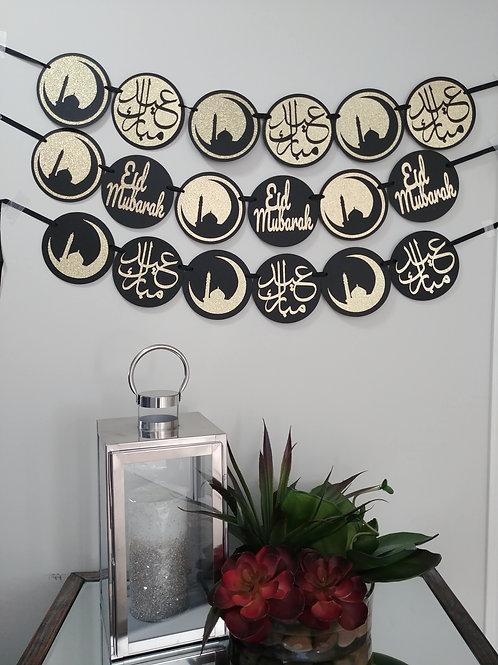 Eid Mubarak English or Arabic Banner (Black/Gold)