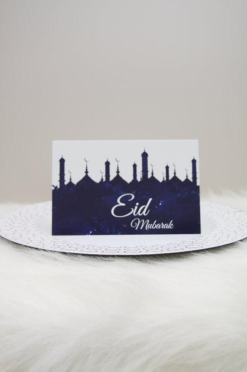 Eid Mubarak Blue Masjid Greeting Card