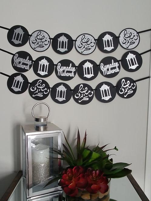 Ramadan Kareem English or Arabic Banner (Black/Silver)