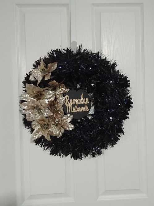 Black/Rose Gold Reversible Flower Wreath