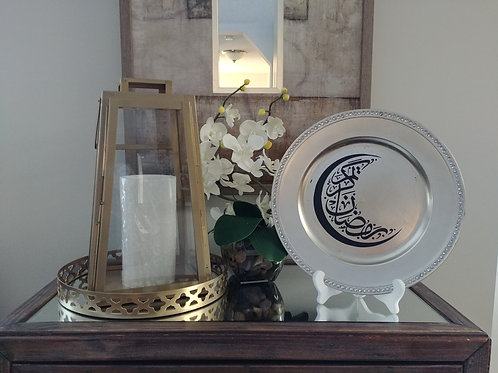 Arabic Ramadan Kareem Crescent Moon Decorative Rose Gold Plate