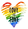 Love is Love LGBTQ+ Friendly Rainbow Heart