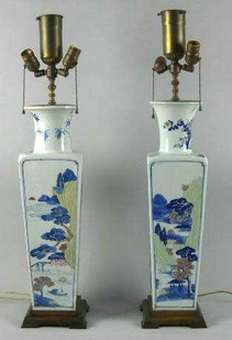 PAIR of KANGXI BLUE & WHITE PORCELAIN VASES MADE INTO LANPS: (1661 - 1722)