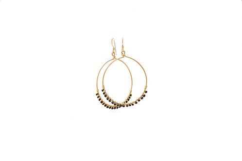 Black Spinel Gold Filled Hoops