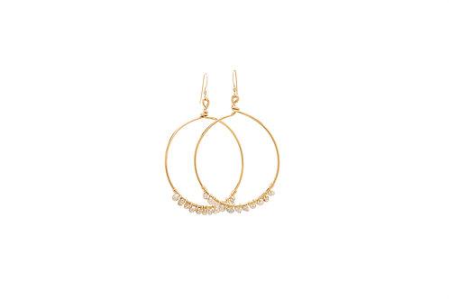 Moonstone Gold Filled Hoops