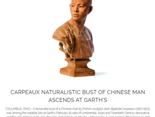 CARPEAUX NATURALISTIC BUST OF CHINESE MAN ASCENDS AT GARTH'S